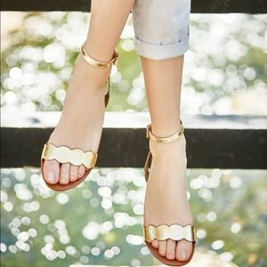 NEW Sole Society Odette Scallop Sandals Gold Sz 5
